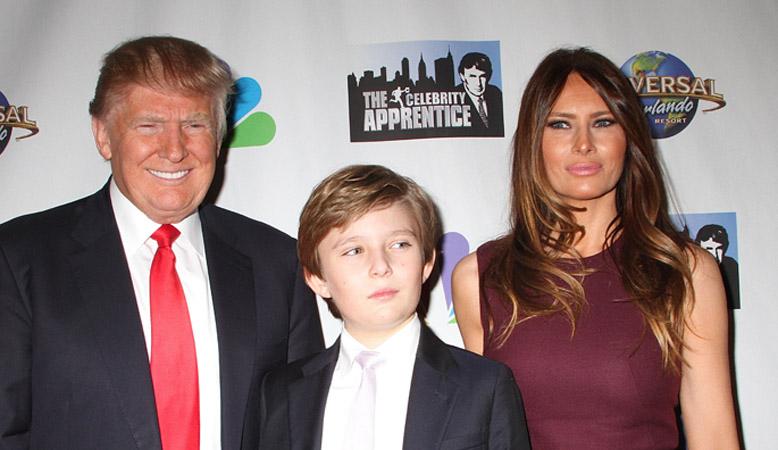 Дональд Трамп, Меланьи Трамп и сын Бэррон Уильям  Трамп